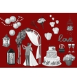 Set of hand drawn wedding elements - string of vector image vector image