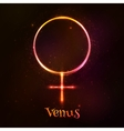 Shining neon light Venus astrological symbol vector image vector image