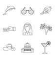 solemn ceremony icons set outline style vector image
