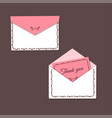 thank you card and open and closed envelope vector image vector image
