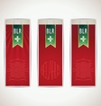 Three red Belarus vertical banners with ribbon vector image