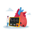 tiny doctor character stand at huge human heart vector image vector image