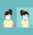 wearing the mask to prevent the infection vector image vector image