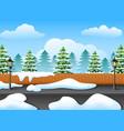 winter forest landscape wit vector image