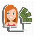 woman with money isolated icon design vector image vector image