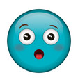 Worried face emoticon kawaii character vector image