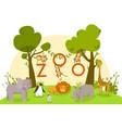 zoo animals cute cartoon characters lion vector image vector image