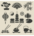Asian icons set vector image