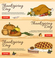 thanksgiving day horizontal hand drawn banners vector image