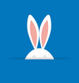 cute easter bunny in blue background vector image