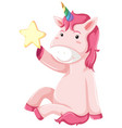 a unicorn character on white background vector image vector image