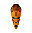 aboriginal african wooden mask isolated on white vector image vector image