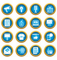 advertisement icons blue circle set vector image vector image