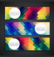 amazing set of three banners in colorful abstract vector image vector image