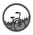 bicycle landscape nature mountains sticker vector image