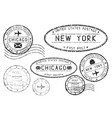 black mail stamps new york and chicago vector image