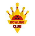 bowling competition logo flat style vector image vector image