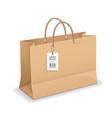 brown paper bag shopping with rope handles vector image vector image