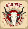buffalo skull western card with wild west text on vector image