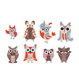cartoon owls wild animal characters with funny vector image vector image