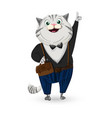 cat dressed in suit cartoon character vector image vector image