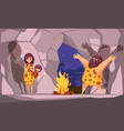 caveman family in cave vector image