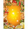 christmas dinner invitation or greeting card vector image