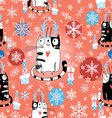 Christmas texture with cats vector image
