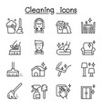 cleaning hygiene icon set in thin line style vector image