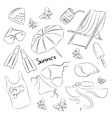 Collection of summer symbols vector image vector image