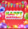 color balloon birthday banner vector image vector image
