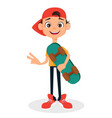 cool boy in cap holding skateboard cute cartoon vector image