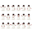 cute funny winter christmas snowman smile emotion vector image vector image