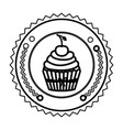 emblem muffin cupcakes icon design vector image vector image