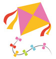 flying kite on white background vector image vector image
