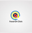 food on click logo iconelement and template vector image vector image