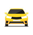 front view yellow car icon in flat design vector image