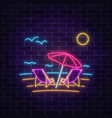 glowing neon summer sign with chaise lounges vector image