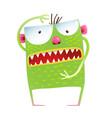 green monster frog showing size kids cartoon vector image vector image