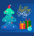 greeting with holiday fir tree and gift boxes vector image