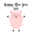 happy new year 2019 pink pig piggy piglet chinese vector image vector image