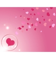 hearts and bubble with reflections pink background vector image vector image