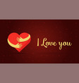 i love you lettering hearts on red background vector image vector image