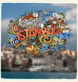 istanbul hand lettering and doodles elements vector image