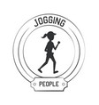 joggin people label vector image