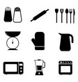 kitchen pictograph icon set a set various black vector image