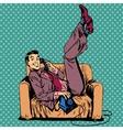 Lazy man sofa talking phone vector image