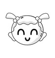 line cute baby girl head with hairstyle design vector image vector image