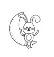 line teddy rabbit seated in the moon vector image vector image