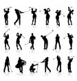 male and female golf silhouettes set vector image